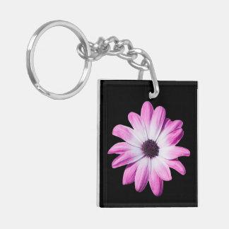 Daisy flower purple, pink beautiful photo Double-Sided square acrylic keychain