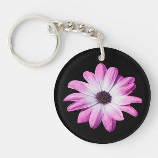 Daisy flower purple, pink beautiful photo Double-Sided round acrylic key ring