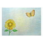 Daisy flower with butterfly invitations