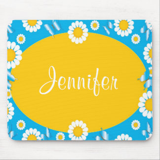 Daisy Flowers Blue & Yellow Personalized Mousepad