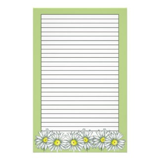 Daisy Flowers Green Floral Drawing Lined Stationery