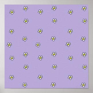 Daisy Flowers Purple Pattern Print