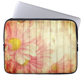 Daisy Flowers W/ Wooden Texture Laptop Sleeve