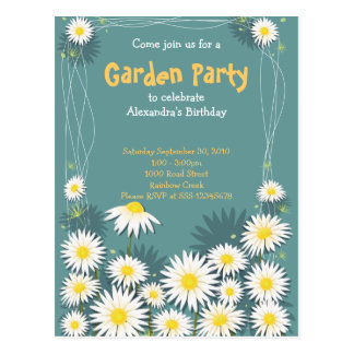Daisy Garden Birthday Party Invitation 2 Postcard
