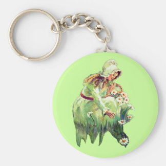 DAISY GIRL by SHARON SHARPE Basic Round Button Key Ring