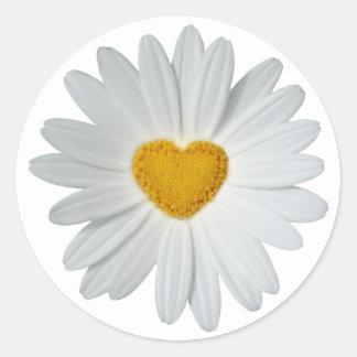Daisy Heart Classic Round Sticker