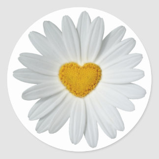 Daisy Heart Round Sticker