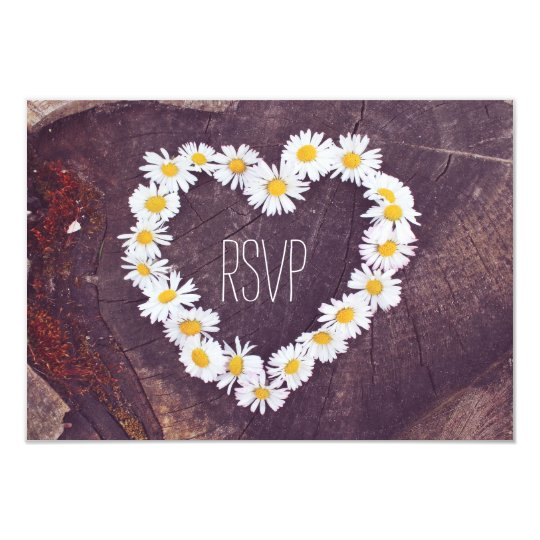 Daisy Heart Rustic Wood Country Wedding RSVP Cards