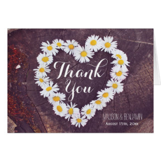 Daisy Heart Rustic Wood Wedding Thank You Card