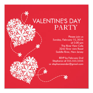 Daisy Hearts Valentines's Day Party Invitations