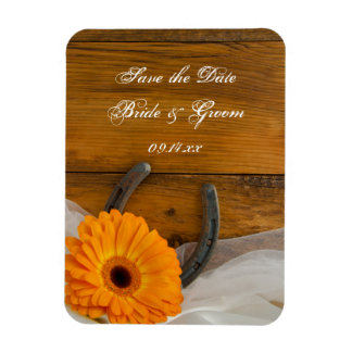 Daisy Horseshoe Country Barn Wedding Save the Date Rectangular Photo Magnet
