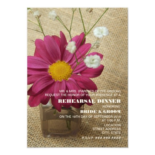 Daisy In Apothecary Bottle Burlap Rehearsal Dinner Card