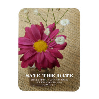 Daisy In Apothecary Bottle Wedding Save The Date Rectangular Magnets