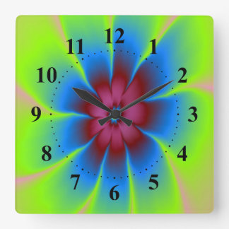Daisy in Burgundy and Blue Wall Clock