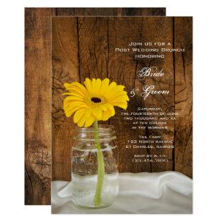 Daisy in Mason Jar Country Post Wedding Brunch Card