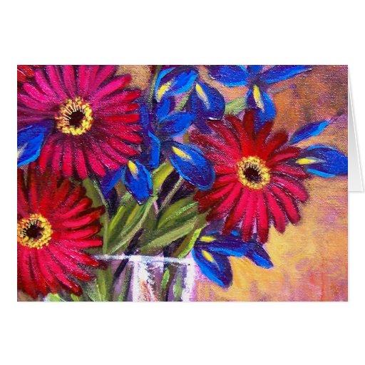 Daisy Iris Flowers Vase Painting Art - Multi Greeting Card