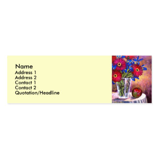 Daisy Iris Flowers Vase Still Life Art - Multi Double-Sided Mini Business Cards (Pack Of 20)
