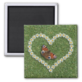 Daisy Love Heart And Butterfly Fridge Magnet