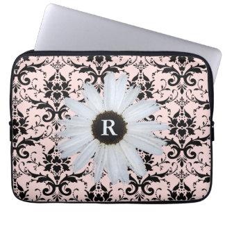 Daisy Monogrammed Pink | Elegant Damask Pattern Laptop Sleeve