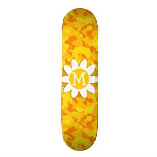 Daisy on Amber Yellow Camo; Camouflage Skate Decks