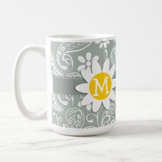 Daisy on Ash Gray; Grey Paisley Coffee Mug