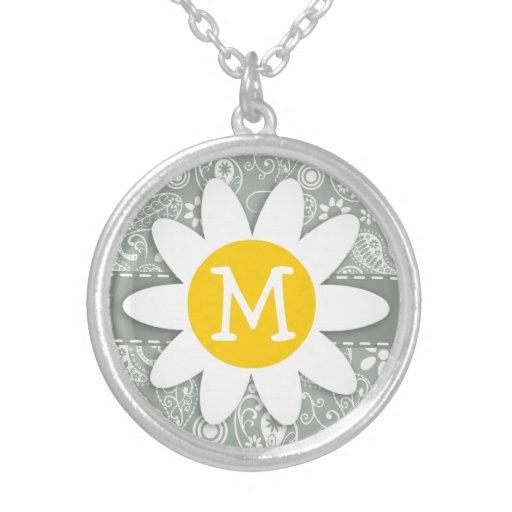 Daisy on Ash Gray; Grey Paisley Necklace