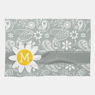 Daisy on Ash Gray; Grey Paisley Tea Towel