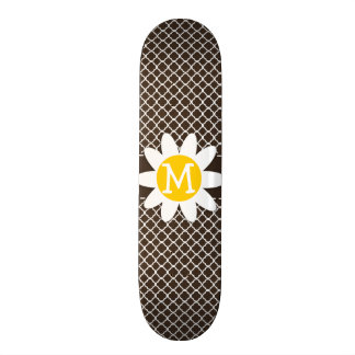 Daisy on Bistre Brown Quatrefoil Skateboards