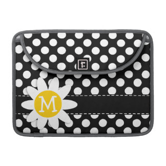 Daisy on Black and White Polka Dots Sleeves For MacBook Pro