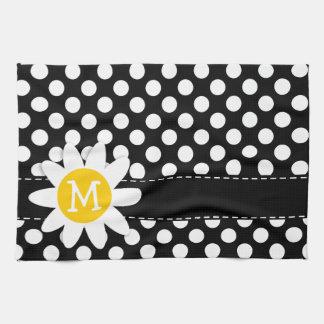 Daisy on Black and White Polka Dots Tea Towel