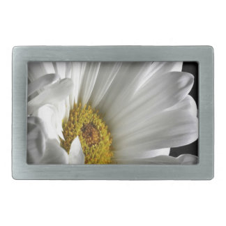 Daisy On Black Background Rectangular Belt Buckles