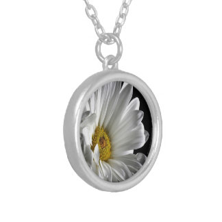 Daisy On Black Background Silver Plated Necklace
