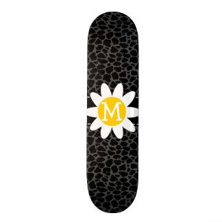 Daisy on Black Leopard Animal Print Skate Board