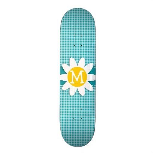 Daisy on Blue-Green Gingham Skateboards