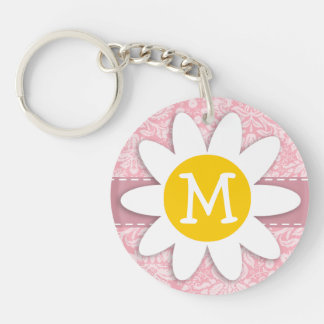 Daisy on Bubble Gum Pink Damask Pattern Double-Sided Round Acrylic Key Ring
