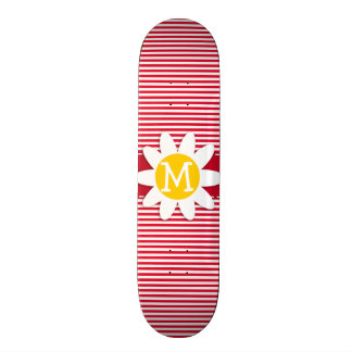 Daisy on Cadmium Red Stripes; Striped Skate Board