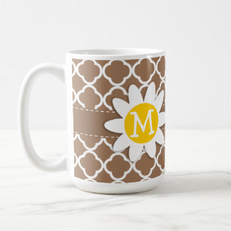 Daisy on Chamoisee Quatrefoil Coffee Mug