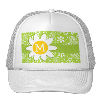 Daisy on Citron Green Paisley; Floral Mesh Hats