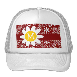 Daisy on Dark Red Paisley; Floral Cap