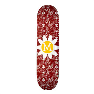 Daisy on Dark Red Paisley; Floral Skate Board Deck