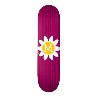 Daisy on Deep Cerise Vertical Stripes Custom Skate Board