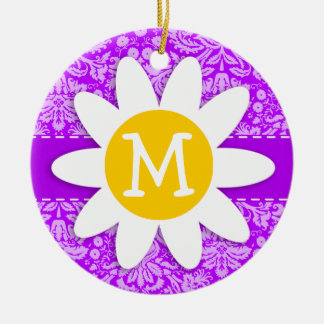 Daisy on Electric Purple Damask Christmas Ornaments