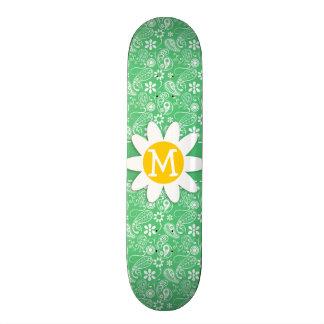 Daisy on Emerald Green Paisley Custom Skate Board