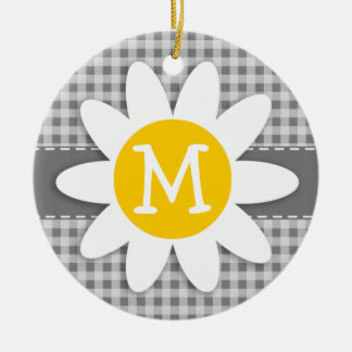 Daisy on Gray Gingham Christmas Ornament