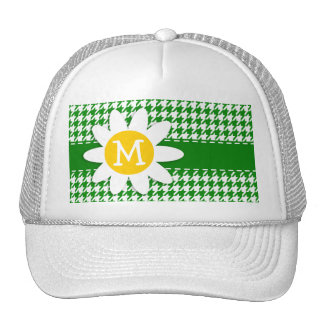 Daisy on Green Houndstooth Trucker Hat