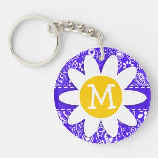 Daisy on Han Purple Paisley Double-Sided Round Acrylic Key Ring
