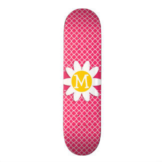 Daisy on Hot Pink Moroccan Quatrefoil Skate Deck