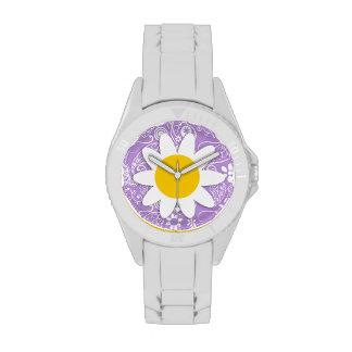 Daisy on Lavender, Light Purple Paisley Pattern Wristwatches