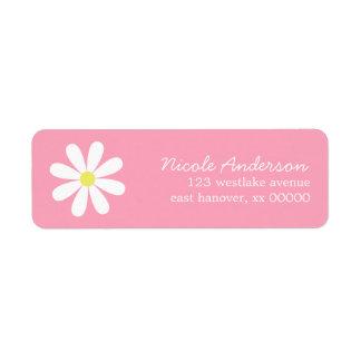Daisy on Pink Return Address Label