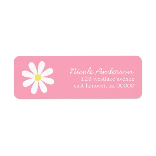 Daisy on Pink Return Address Label